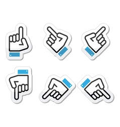 Pointing hand - up down across icon vector image