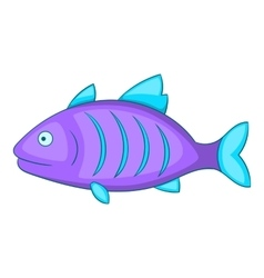 Purple fish icon cartoon style vector image