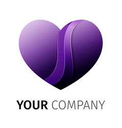 purple heart logo design ribbon vector image