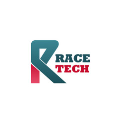 R letter icon for race tech company vector