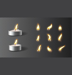 realistic tea candles with set flames vector image