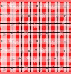 red tartan with star tartanplaid pattern vector image