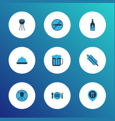 restaurant icons colored set with new meal no vector image