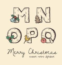 Retro christmas alphabet - n m o p q vector