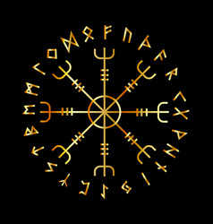scandinavian runic alphabet with the vegvisir vector image