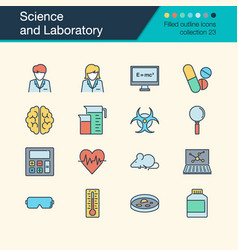 Science and laboratory icons filled outline vector