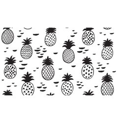 Seamless pattern with pineapples in black vector