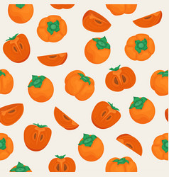 Seamless pattern with ripe persimmon whole vector