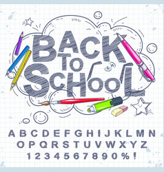 set handwriting letters and digits pen a set vector image