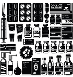 Set of medicament symbols vector image