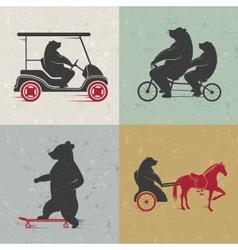 Set Sign Fun Bears vector