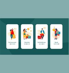 shopping people onboard screen trendy scenes vector image