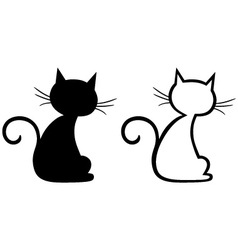 Silhouette kitten vector