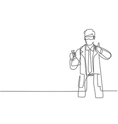 single continuous line drawing scientist vector image