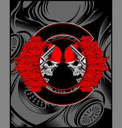 skull with gun and rose decoration vector image