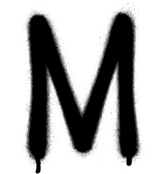 Sprayed m font graffiti with leak in black vector