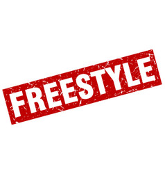Square grunge red freestyle stamp vector