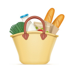 Straw shopping bag with food vector