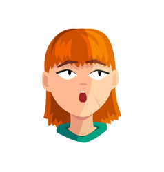 Surprised redhead girl female emotional face vector