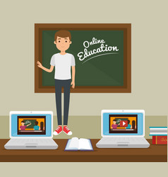 Teacher man with chalkboard online education vector