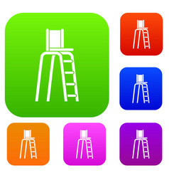 tennis tower for judges set collection vector image