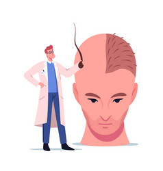 Tiny doctor character holding follicle prepare vector