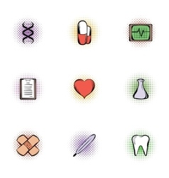 Treatment icons set pop-art style vector