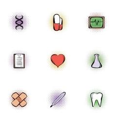 Treatment icons set pop-art style vector image