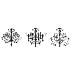 Vintage elegant chandelier set luxury vector