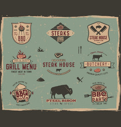 Vintage grill and steak house logo templates vector