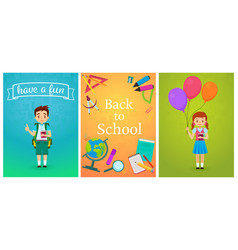 Welcome back to school cute school pupils kids vector