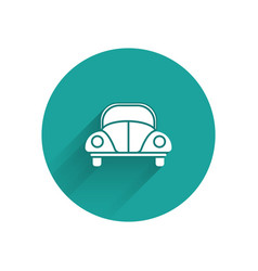 White car volkswagen beetle icon isolated with vector