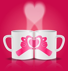 white cups with hands making heart shape vector image