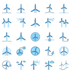 Wind turbine colored icons wind power vector