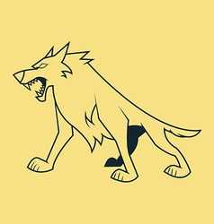 Wolf Stand Line Art vector image
