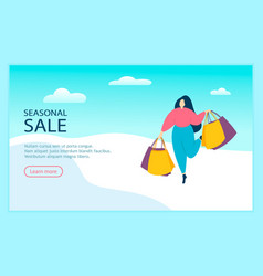 woman walking with shopping bags seasonal sale vector image