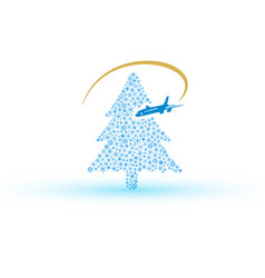 Christmas tree from snowflake with airplane eps10 vector