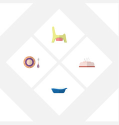 flat kid set of bathtub tissue toilet and other vector image vector image