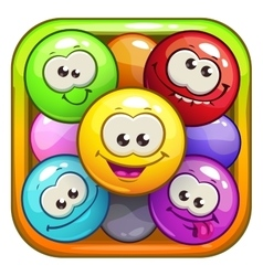 Funny cartoon square app icons vector image