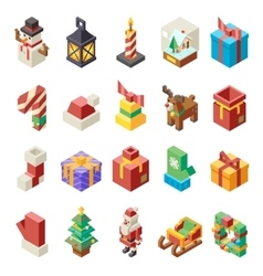 Lowpoly Polygonal Christmas Isometric 3d Icons Set vector image vector image
