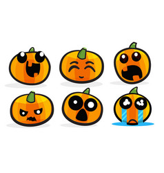 pumpkin emotions set for halloween vector image