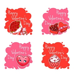 Set of four badge for Valentines Day vector image vector image