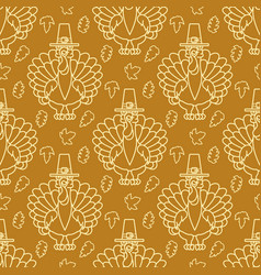 thanksgiving holiday seamless pattern turkey and vector image