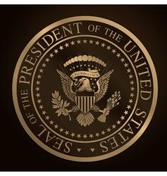 Us golden presidential seal emboss vector