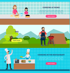 cookery people horizontal banners vector image vector image