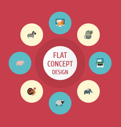 flat icons reptile horse swine and other vector image