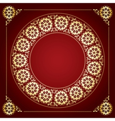 red background with golden floral frame vector image