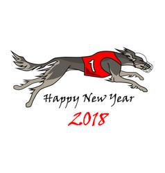 running dog saluki breed in dog racing dress vector image