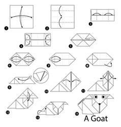 step instructions how to make origami a goat vector image vector image