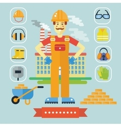 Architecture and Construction color flat concept vector image vector image